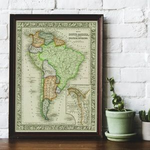 A Vintage Map of South America